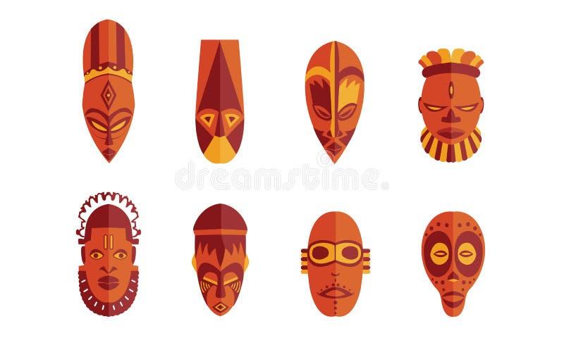 Этнические маски установили в иллюстрацию вектора Африканское племенное собрание Нигерия значка маски - отображает vectorielles бесплатная иллюстрация