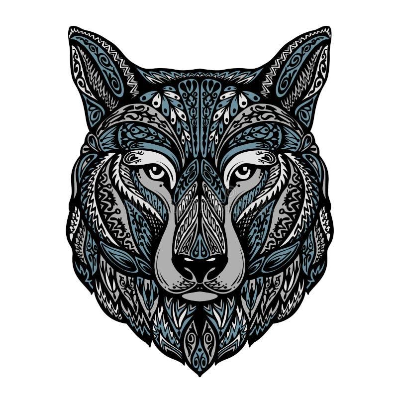 Этнические орнаментированные волк или собака также вектор иллюстрации притяжки corel бесплатная иллюстрация