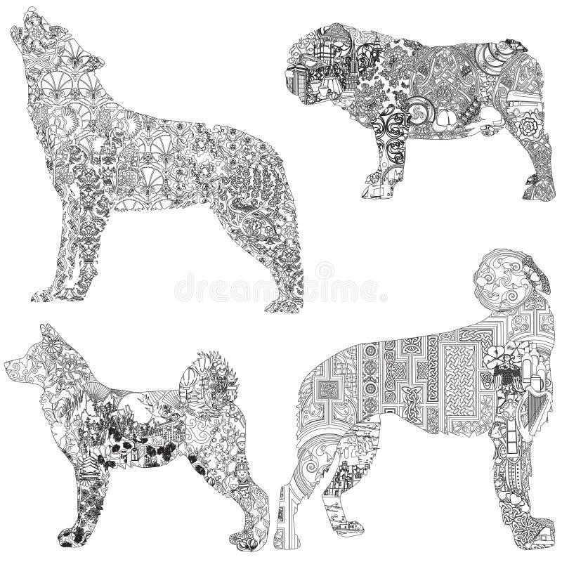 Этнические украшенные собаки бесплатная иллюстрация