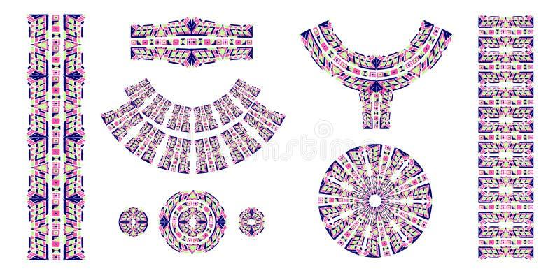Этнические щетки Африканская этническая печать Ацтекская картина Восточная лента шнурка ind иллюстрация вектора