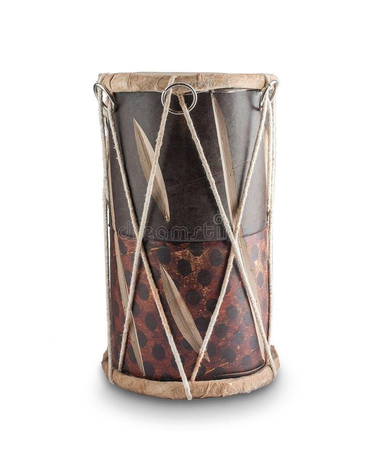 Этнический африканский барабанчик на белой предпосылке стоковое изображение rf
