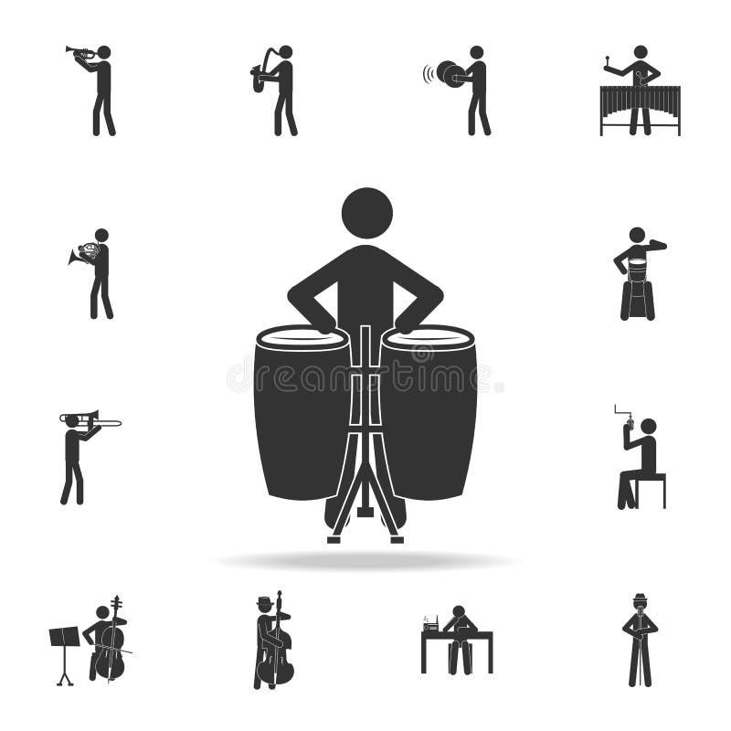 Этнический значок игрока барабанчика Детальный комплект значков музыки Наградной качественный графический дизайн Один из значков  бесплатная иллюстрация