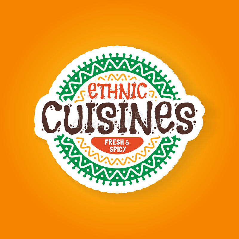 Этнический значок ресторана кухонь иллюстрация вектора
