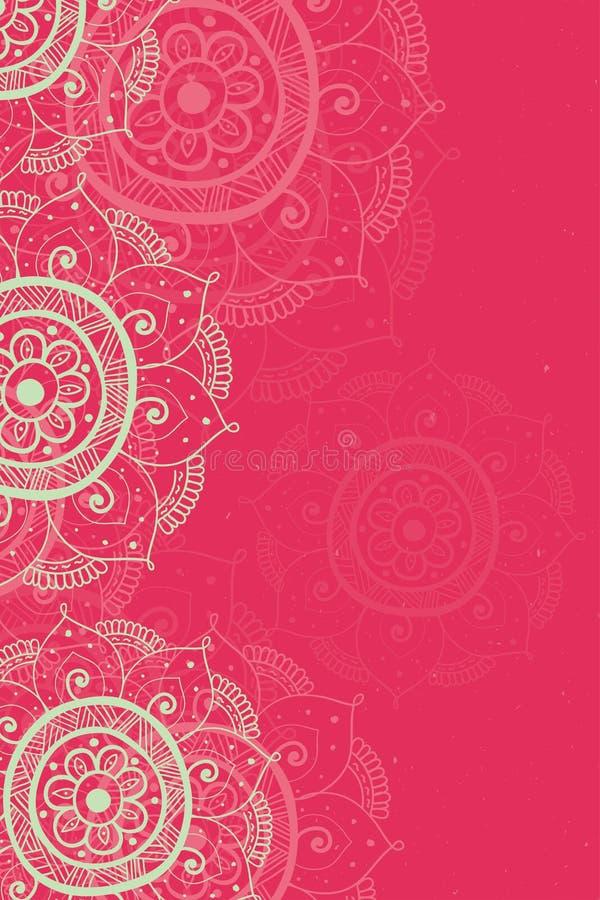 Этнический красный цвет карточки приглашения бесплатная иллюстрация