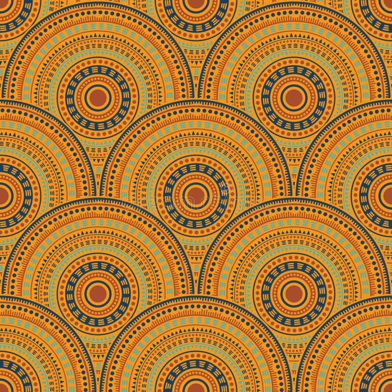 Этнический круг формирует безшовную геометрическую картину иллюстрация вектора