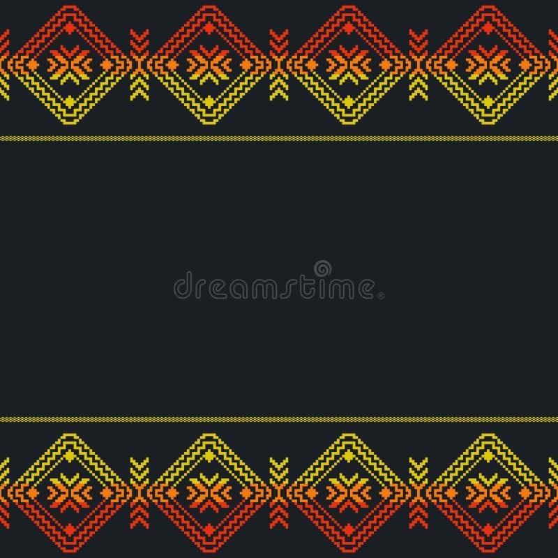 Этнический мексиканский шаблон, безшовная картина Ацтекское геометрическое ornam иллюстрация вектора