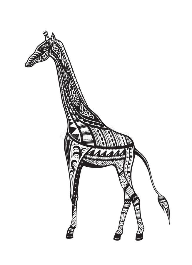 Этнический орнаментированный жираф иллюстрация штока
