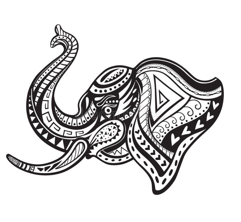Этнический орнаментированный слон бесплатная иллюстрация