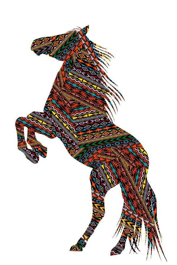 Этническими лошадь сделанная по образцу мотивами bucking иллюстрация вектора
