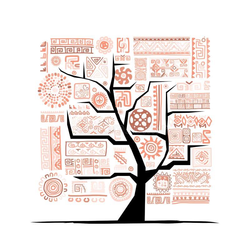 Этническое дерево с handmade орнаментом для вашего дизайна иллюстрация штока