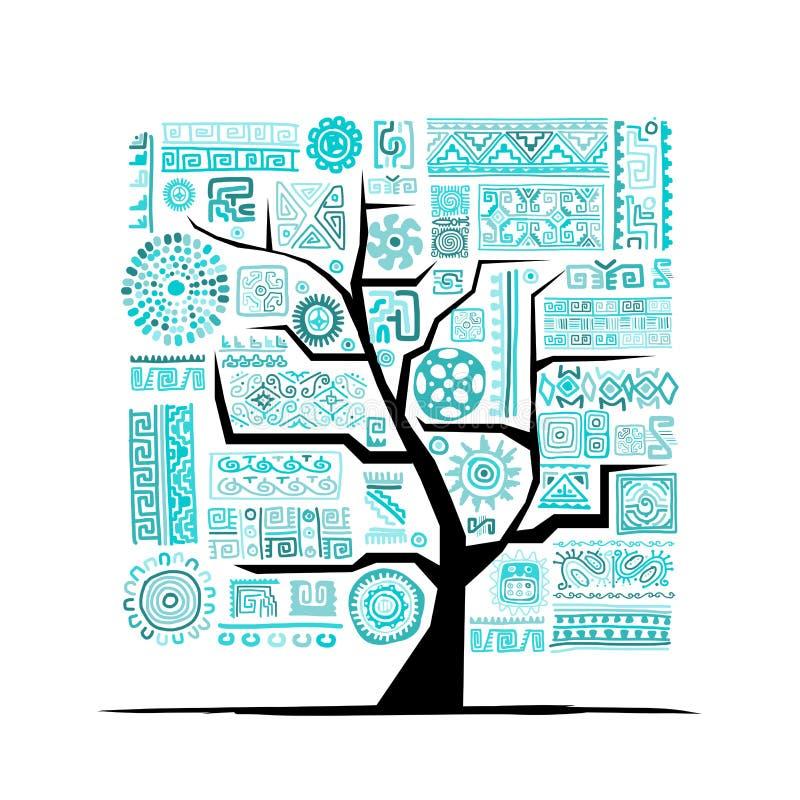 Этническое дерево с handmade орнаментом для вашего дизайна иллюстрация вектора