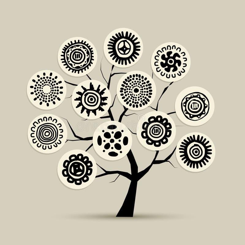 Этническое дерево с handmade орнаментом для вашего дизайна бесплатная иллюстрация