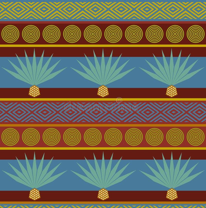 Этническое происхождение абстрактного вектора племенное Яркая безшовная картина с голубой печатью столетника иллюстрация штока