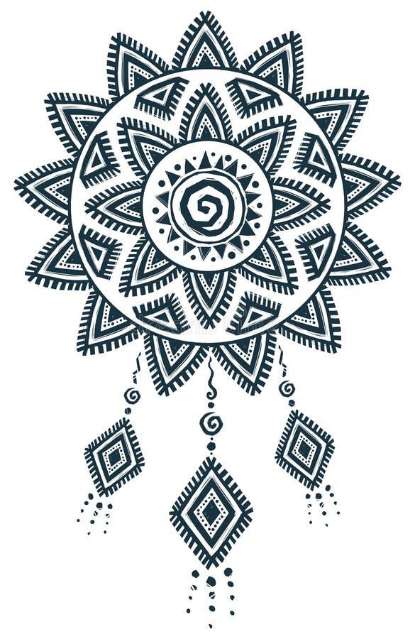 Этнической мандала улавливателя вектора стиля нарисованная рукой мечт иллюстрация штока