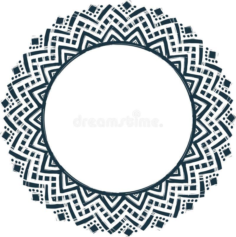 Этнической племенной рамка doodle вектора стиля нарисованная рукой бесплатная иллюстрация