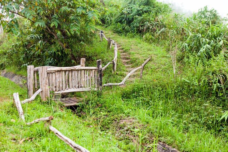 Этот красивый античный деревянный мост над небольшим рекой стоковое фото