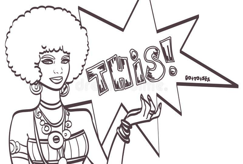ЭТО, сторона искусства шипучки Чудесная сексуальная африканская женщина с пузырем речи Vector красочная предпосылка в шуточном ис иллюстрация вектора