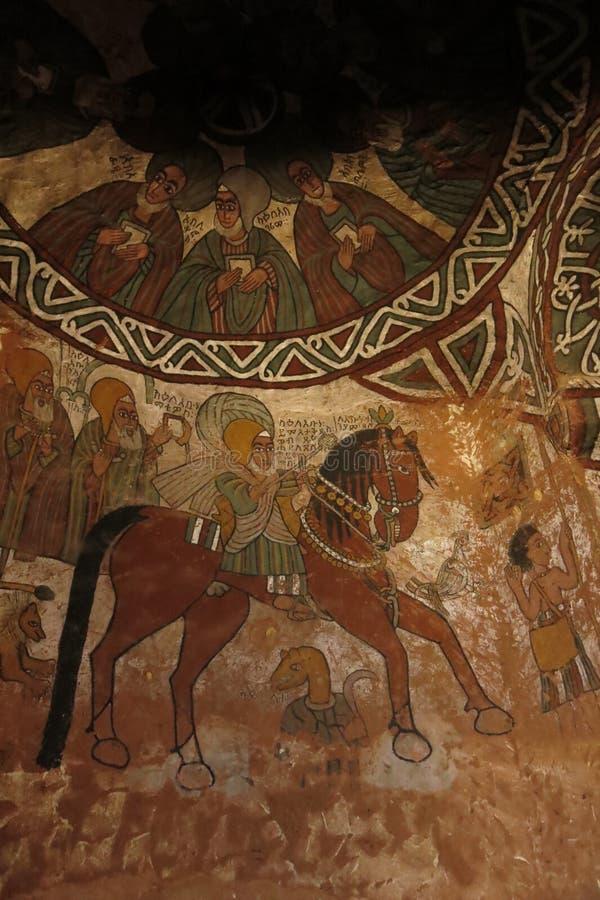 Эфиопская живопись в церкви, декабрь 2017 года стоковое изображение