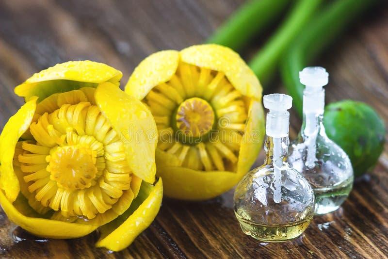 Эфирное масло в стеклянной бутылке с свежими цветками lutea Nuphar, желтой Вод-лилии, обработки Рябиновк-Бутылк-красоты Принципиа стоковая фотография rf