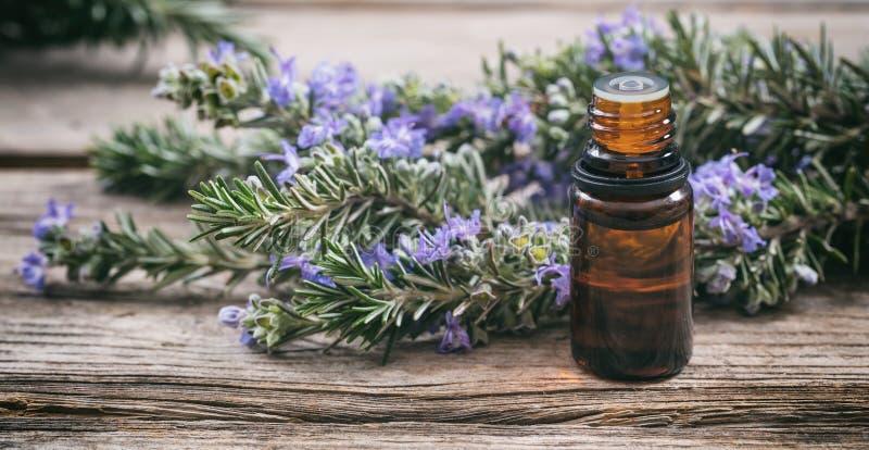 Эфирное масло Розмари и свежая зацветая хворостина на деревянном столе, взгляд крупного плана стоковое фото