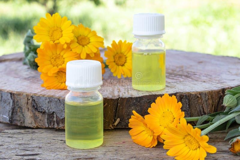 Эфирное масло Calendula около желтых цветков calendula на деревянной предпосылке в природе Выдержка тинктуры calendula стоковые изображения