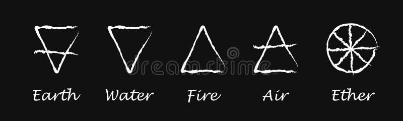 эфир airbrush Земля пожар Вода Значки вектора алхимии также вектор иллюстрации притяжки corel стоковое изображение rf