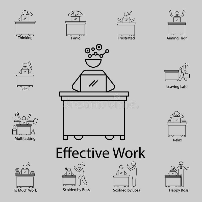 эффективный значок работника Детальный набор людей в значках работы Наградной графический дизайн Один из значков собрания для веб иллюстрация штока