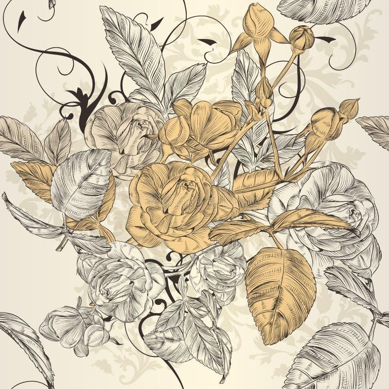 Элегантная безшовная картина обоев с розовыми цветками бесплатная иллюстрация