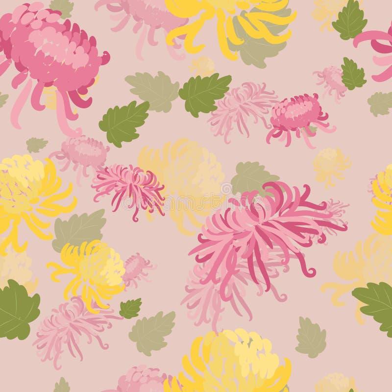 Элегантная безшовная картина с цветками нарисованными рукой декоративными в розовых и желтых хризантемах иллюстрация вектора