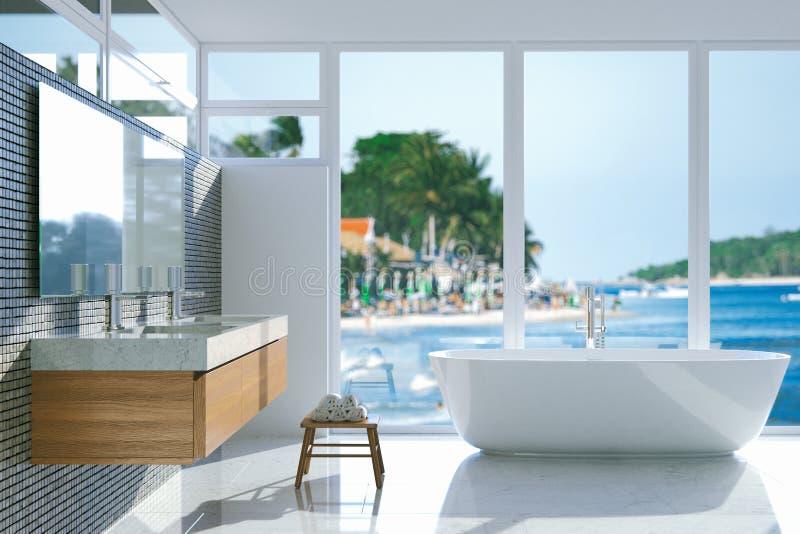 Элегантная ванная комната с панорамным окном 3d представляют стоковая фотография