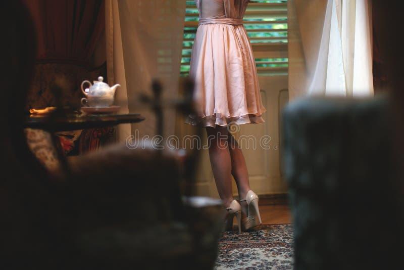 Элегантная девушка в чайной комнате стоковое фото