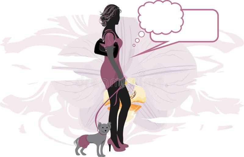 Download Элегантная женщина с маленькой собакой Иллюстрация вектора - иллюстрации насчитывающей женщина, ангстрома: 37929770