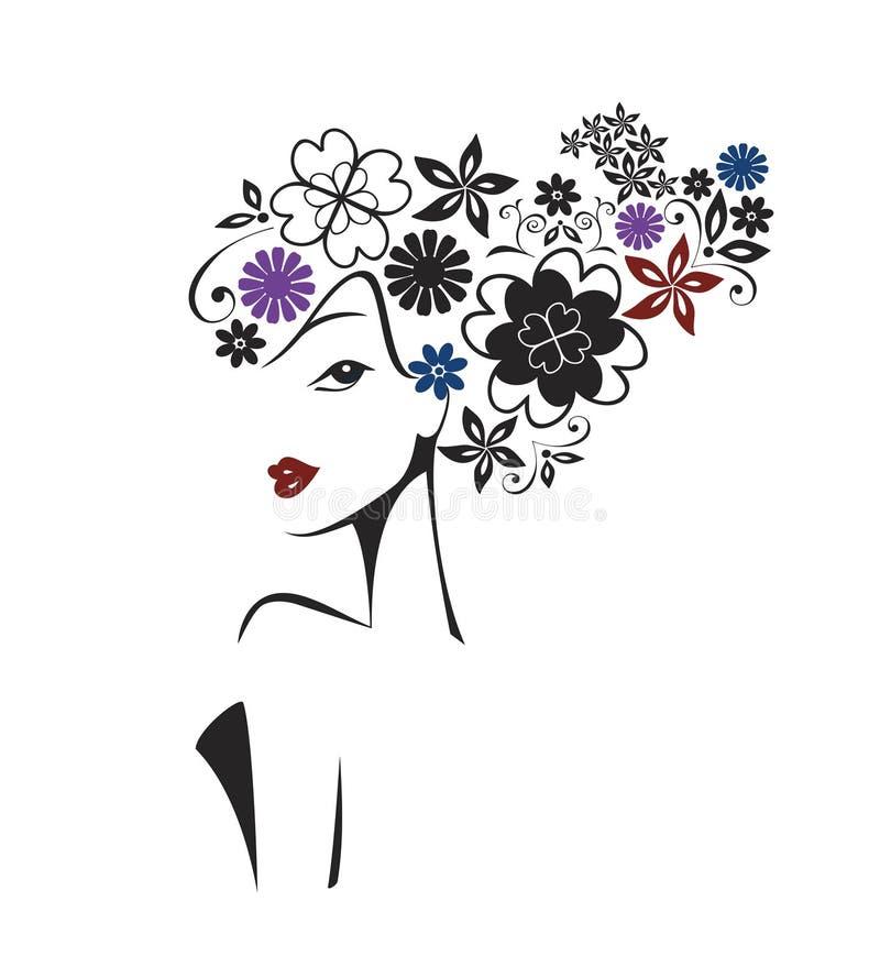 Элегантная женщина с флористической головой иллюстрация вектора