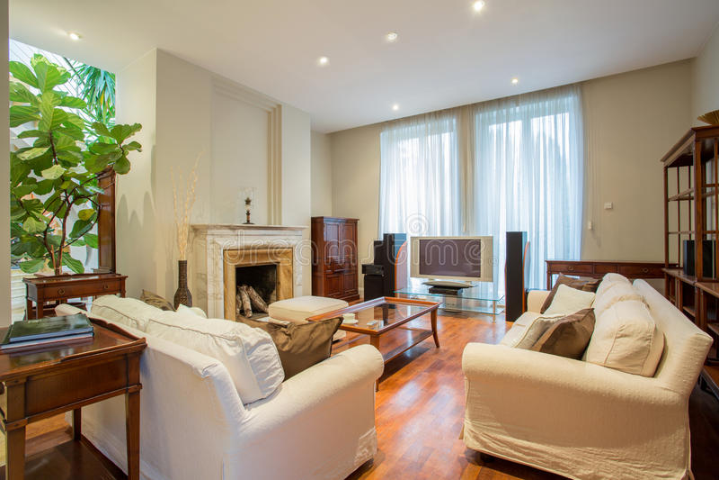Элегантная живущая комната с камином стоковое фото