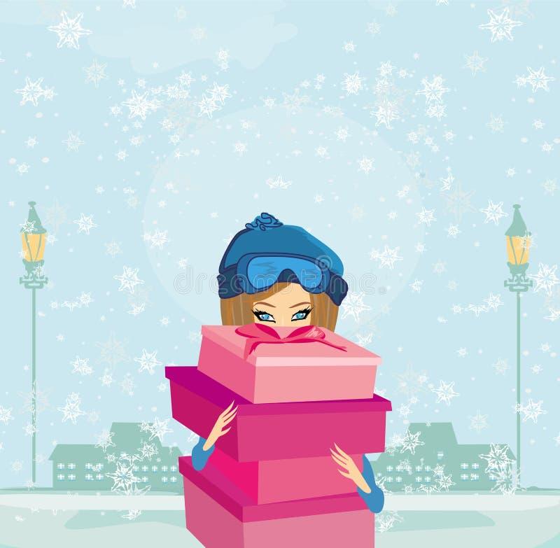 Download Элегантная и модная девушка с подарочной коробкой Иллюстрация вектора - иллюстрации насчитывающей девушка, рождество: 33727113