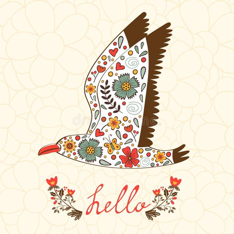 Элегантная карточка здравствуйте! с чайкой летания бесплатная иллюстрация