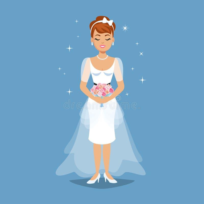 Элегантная невеста в платье свадьбы в современных стилях E иллюстрация вектора