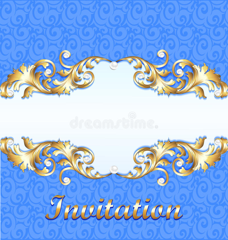 Элегантная предпосылка с орнаментом золота с диамантом, рамкой ювелирных изделий, винтажной открыткой иллюстрация вектора