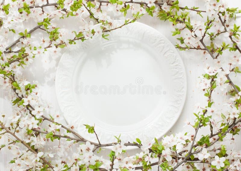 Элегантная пустая плита среди зацветая (цветя) ветвей дерева на белизне стоковые изображения rf