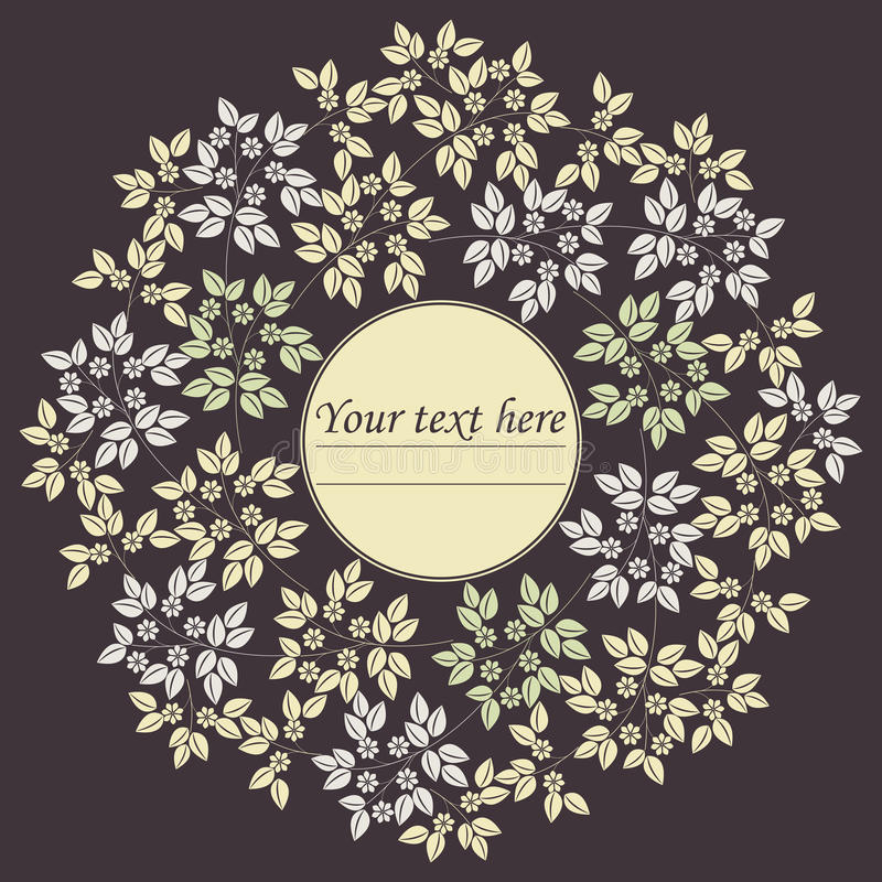 Элегантная рамка круга с листьями и цветками бесплатная иллюстрация