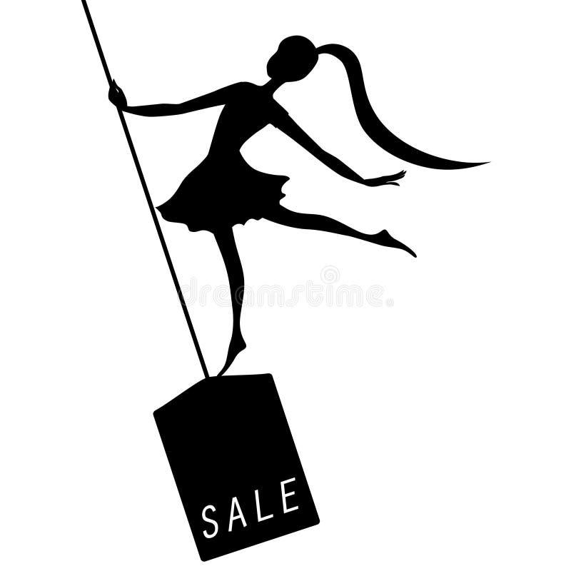 Элегантная реклама пятницы черноты женщины силуэта иллюстрация штока