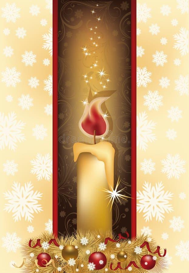 Элегантная рождественская открытка с золотой свечой иллюстрация штока