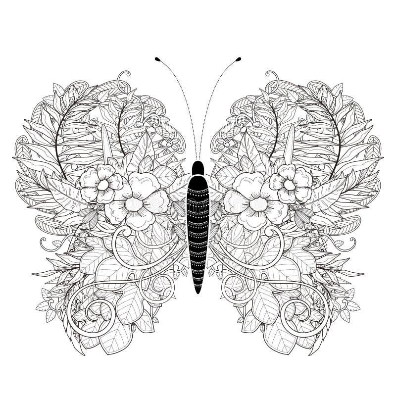 Элегантная страница расцветки бабочки иллюстрация штока