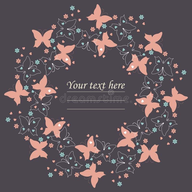 Элегантная фиолетовая рамка с милыми бабочками, цветками и сердцами иллюстрация вектора