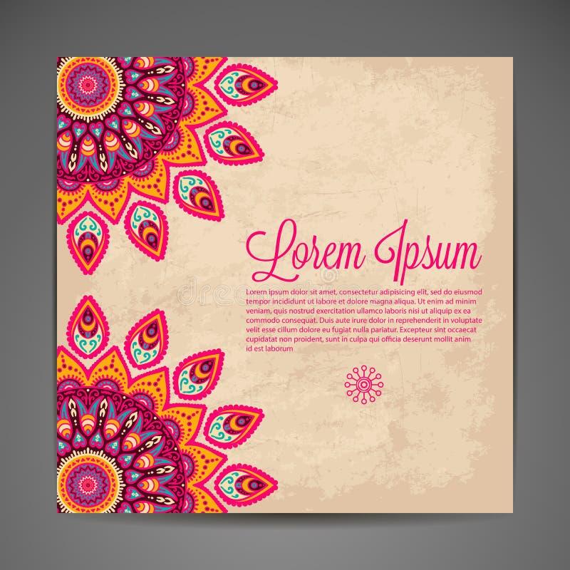 Элегантное индийское украшение на темной предпосылке иллюстрация штока