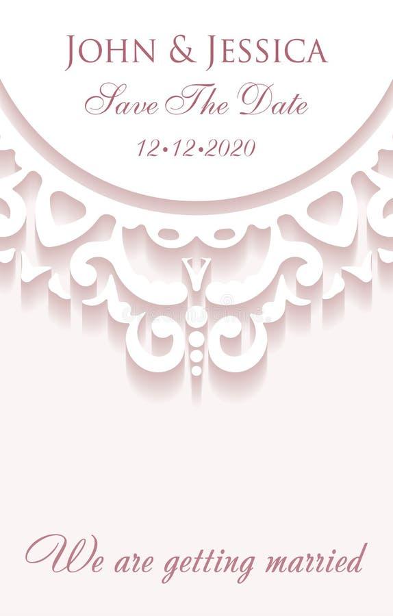 Элегантное спасение карточка стиля бумаги даты с украшением шнурка, vin бесплатная иллюстрация