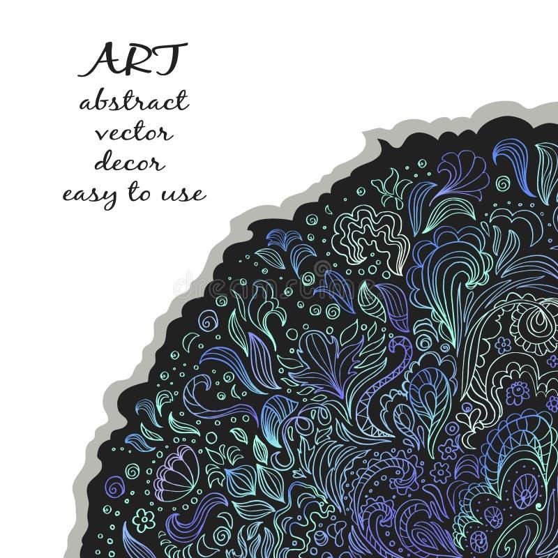 Элегантное флористическое украшение на темном субстрате конструкция стильная Смогите быть использовано для объявления, знамени, д иллюстрация штока