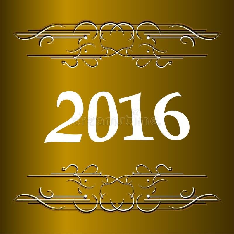 Элегантные Новые Годы карточки с литерностью руки, счастливым Новым Годом 2016 иллюстрация штока