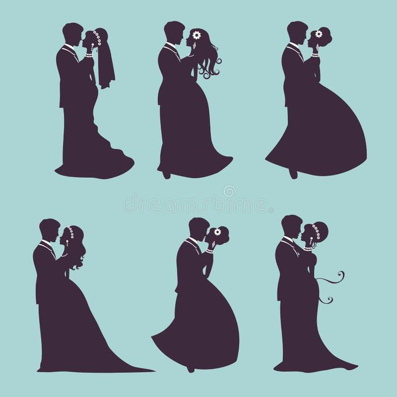 Элегантные пары свадьбы в силуэте иллюстрация вектора