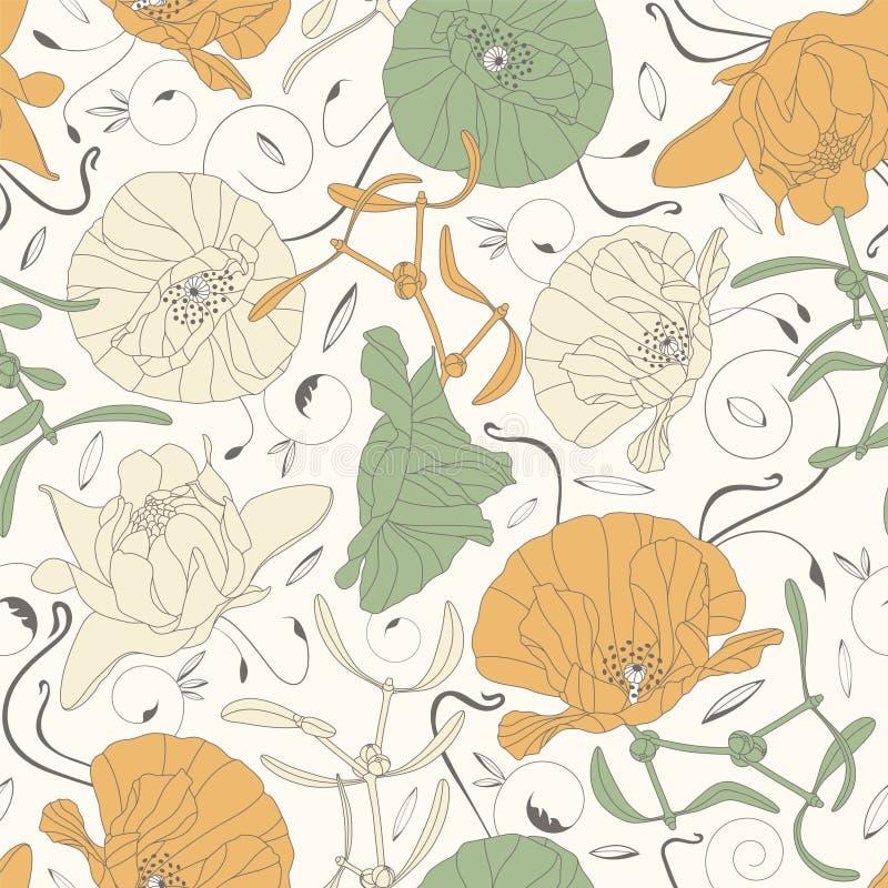 Элегантные цветки и листья бесплатная иллюстрация